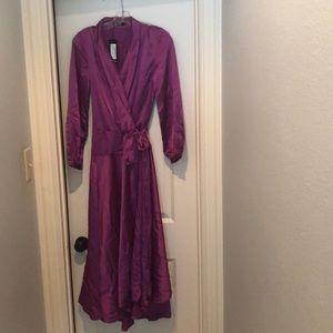 Nasty Gal satin wrap maxi dress size 2 NWT
